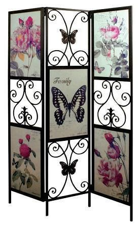 NEW Shabby Vintage Chic Butterfly & Rose Glazed Screen Room Divider