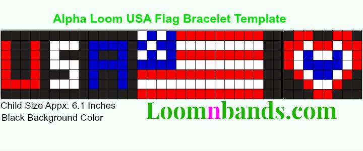 Alpha Loom Usa Flag Bracelet Template Alpha Loom