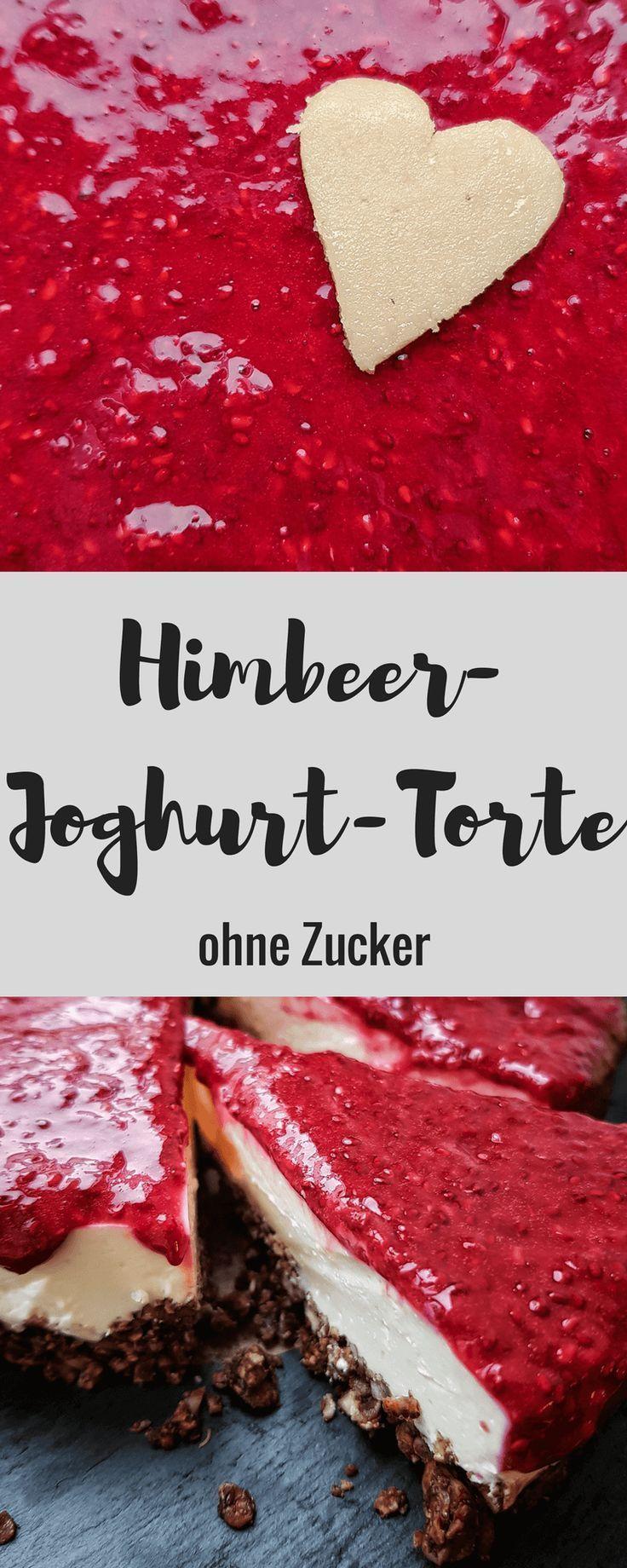 Himbeer-Joghurt-Torte ohne Zucker - nur mit Himbeer und Vanille gesüßt #tortegeburtstag