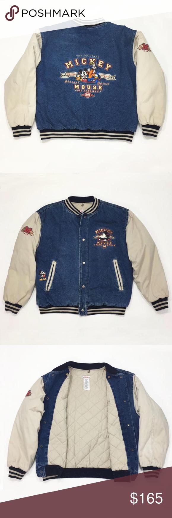Disney Mickey Mouse Embroidered Varsity Jacket Jackets American Denim Clothes Design [ 1740 x 580 Pixel ]
