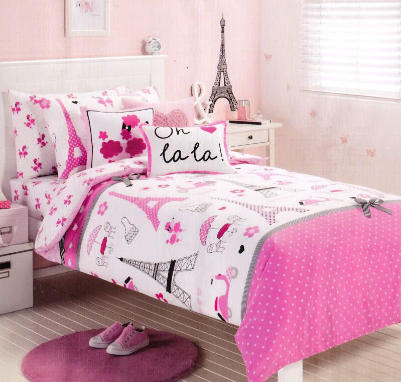 pink paris eiffel tower single / twin size quilt cover set 225 tc