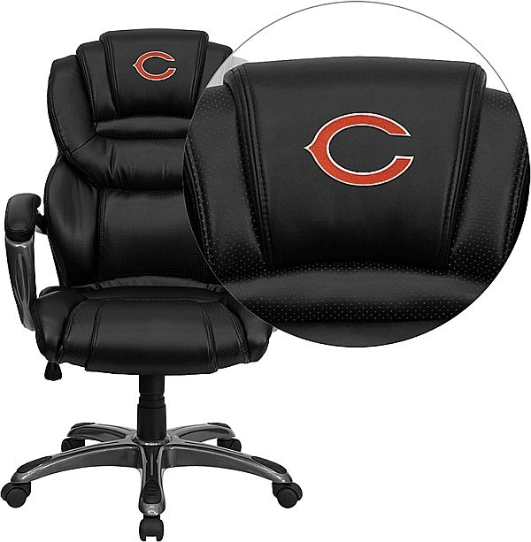 Elegant Chicago Bears Embroidered Black Leather Executive Office Chair   Leather  Padded Loop Arms | MonsterMarketplace.
