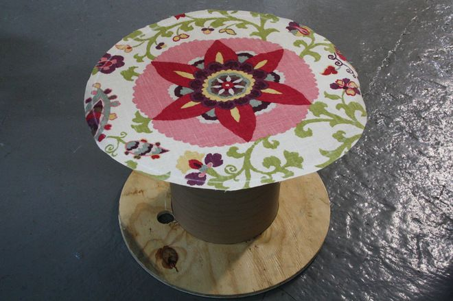 Make a Cute and Low-Cost Rolling Table Turn a free salvage spool into a chic outdoor party table with an easy-to-make slipcover and wheels