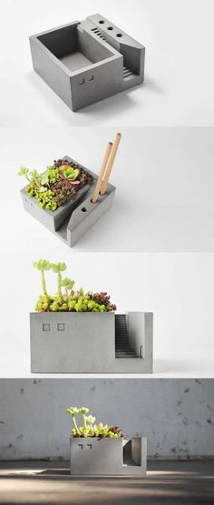 Pen Pencil Holder Stand Concrete Desktop Organizer Succulent Planter ...