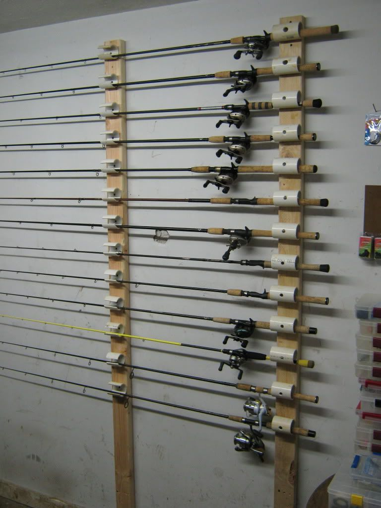 Ceiling mounted rod holder fishing gear pinterest for Homemade fishing rod holders