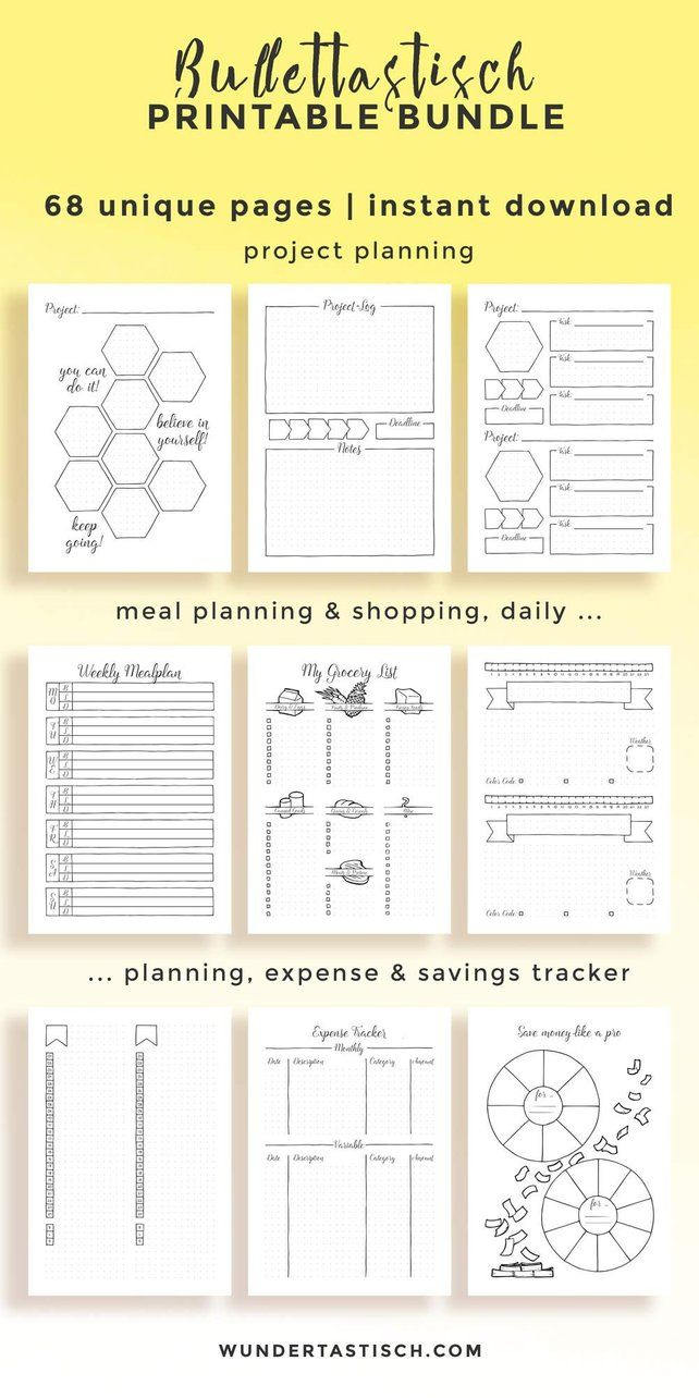 Bullettastisch Printable Bundle • Undated Bullet Journal Printable Pack • A4 • A5 • US (Half) Letter • Planner Insert • Instant Download -   11 fitness Planner memories ideas
