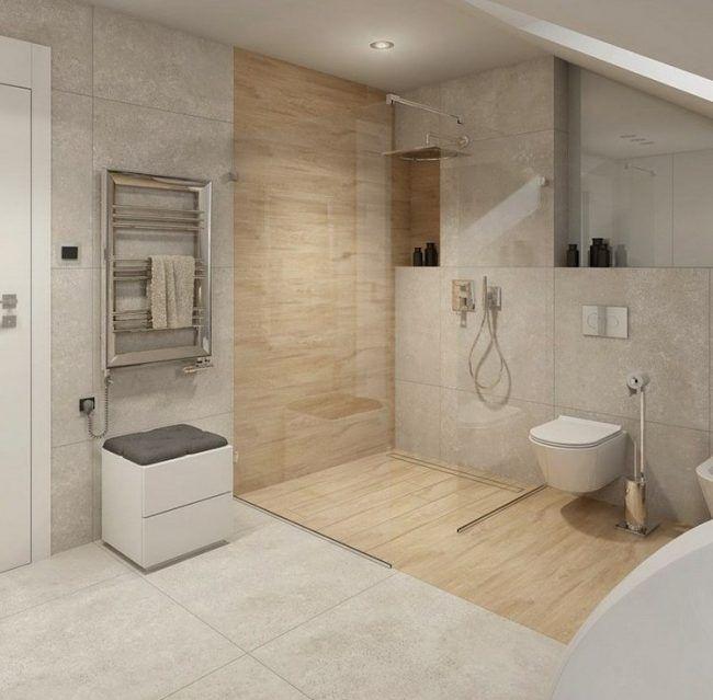 fliesen auf holz ebenerdige dusche badezimmer steinoptik glaswand holzdielenboden verlegen