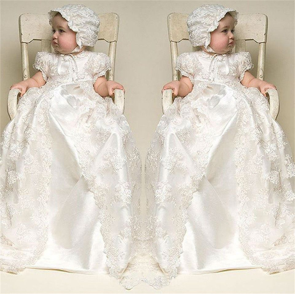 >> Click to Buy << 2017 Hot Sale White Ivory Lace Baby Girl Baptism Dresses Birthday Baby Dress Baby Girl Christening Gowns with Bonnet #Affiliate