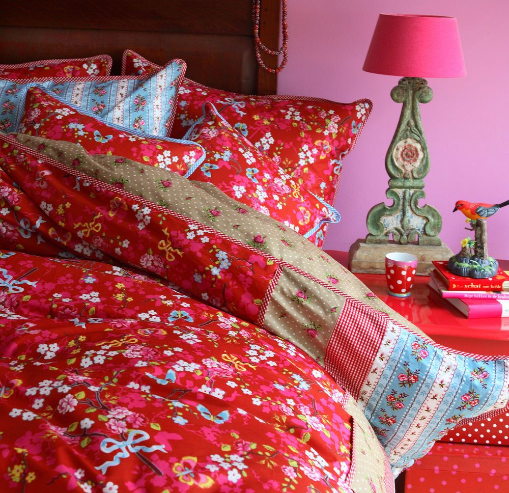 Pip Studio Bettwäsche Chinese Rose Red Rot 135x200 Cm Baumwolle 60