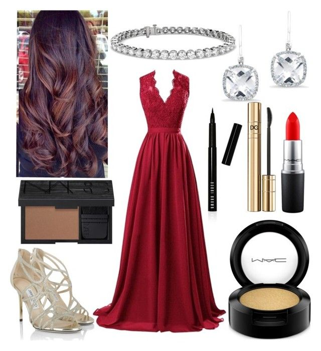 """""""Glam"""" by magriatrix ❤ liked on Polyvore featuring R&J, MAC Cosmetics, Jimmy Choo, NARS Cosmetics, D&G, Bobbi Brown Cosmetics, Anne Sisteron and Blue Nile"""