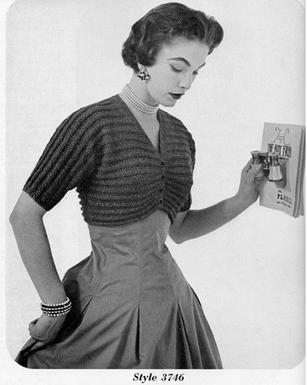 4b65a6974b99a Vintage Knitted Bolero   Shrug Pattern - 1950s Ribbed Button-up Cuteness.   2.99