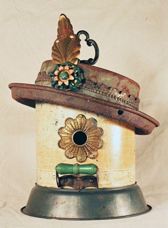 Birdhouse Metal Birdhouse Reclaimed Objects Birdhouse by channa01, $115.00