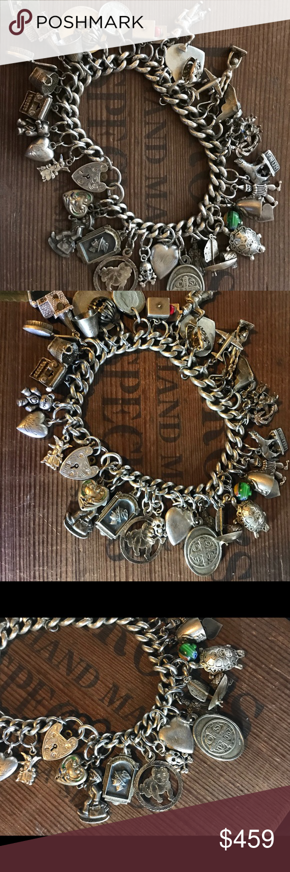 Old English Charm: Antique English Sterling Silver Charm Bracelet Antique