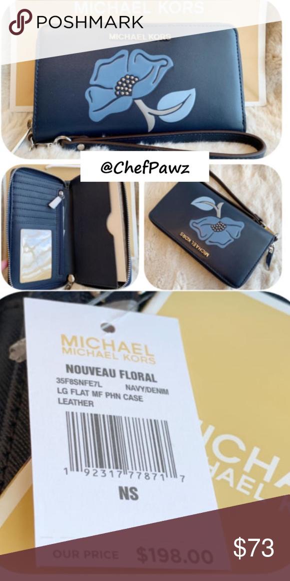 bd1ee1e34681 NWT Michael Kors Nouveau FLORAL Phone Wallet Wrist STYLE#: 35F8SNFE7L  Navy/Denim 100