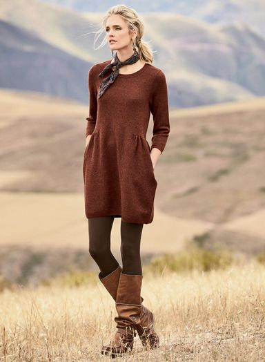 Chancay Tunic-Dress : Diamonds in red clay and peat subtly pattern our chic tunic-dress. In a soft, felted jacquard of baby alpaca (66%), wool (28%) and pima (6%), with ¾-sleeves, pockets and a drop waist with side gathers.