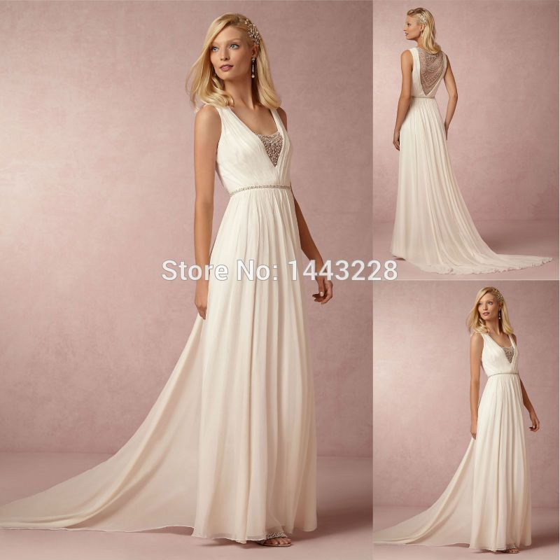 A Line Chiffon Crystal Sheer Back Grecian Goddess Style Wedding Dress Beach Bridal Gown Vestidos De