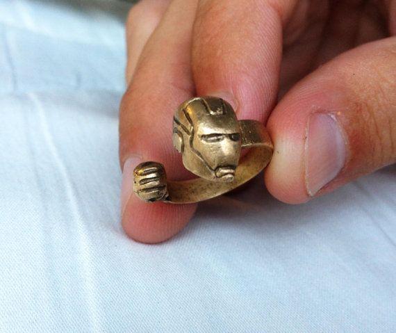 Iron Man Marvel Avengers Superhero Ring Comics by Efflorajewelry. $40.00, via Etsy.