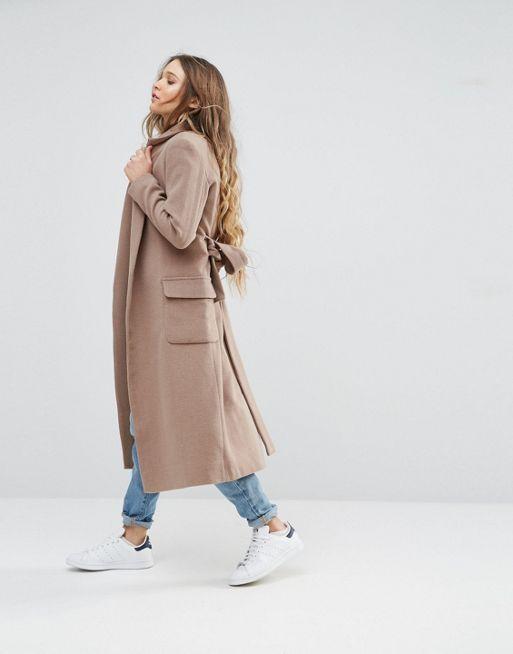 Langer Mantel Mit Gürtel 11199 Klassischer Mantel Für Damen In