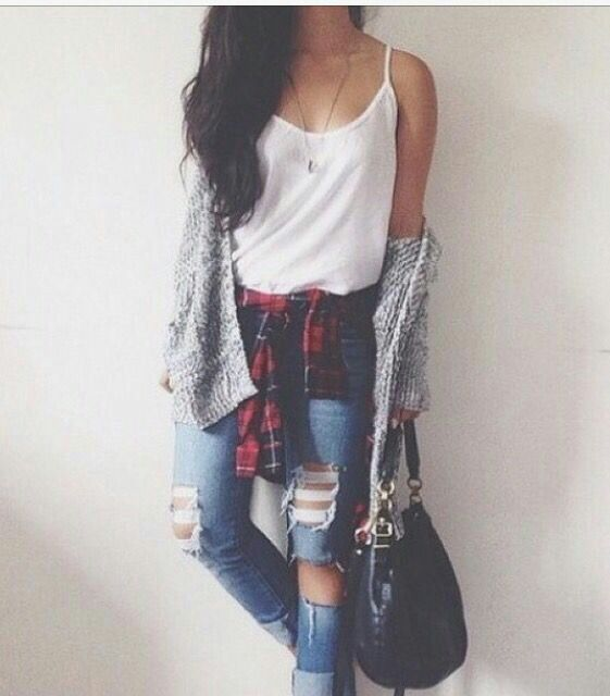 beautiful Tumblr Teenage Girl Outfits Part - 7: Teen girl outfit Flannel White tank top Grey cardigan ripped jeans