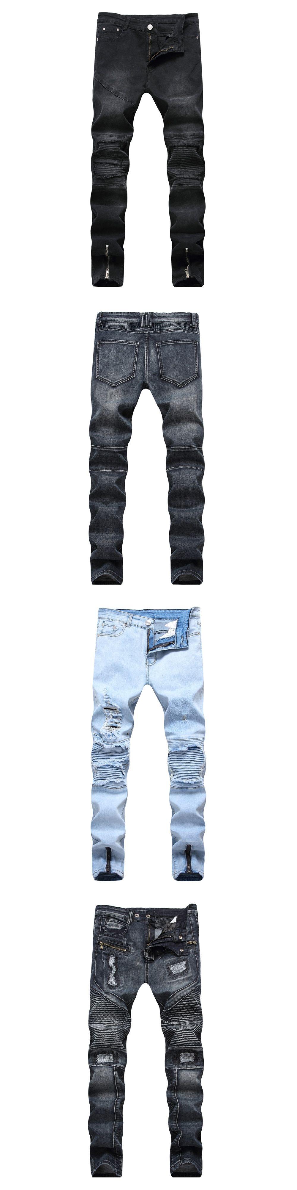 090d1e8483326 Ankle Zipper Design Hi-Street Mens Black Ripped Jeans Men Fashion Male  Distressed Skinny Jeans Destroyed Denim Jeans Trousers