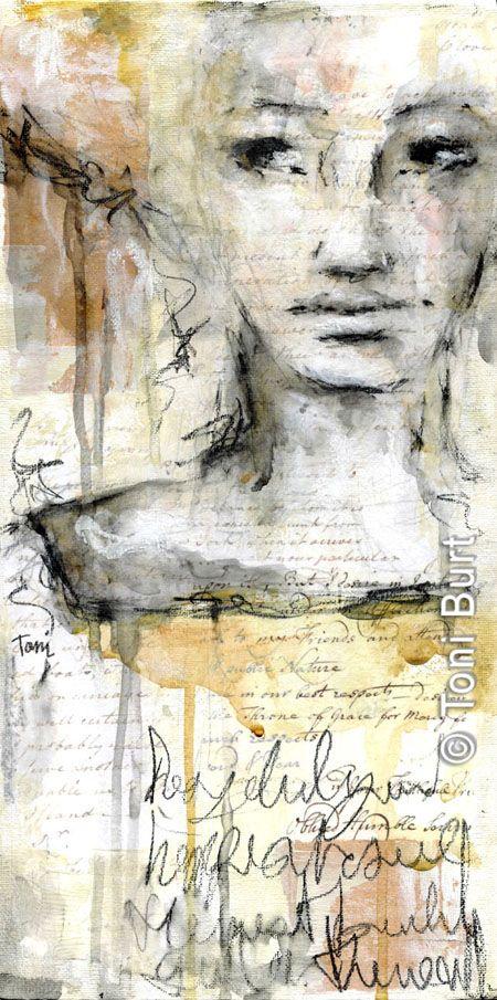 """fragility"" mixed media artwork - 8 x 16""  Collage, Inktense, water soluble graphite.  Toni Burt"
