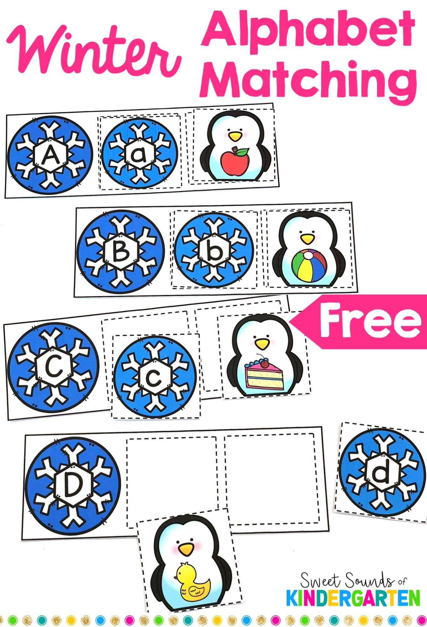 Winter Alphabet Matching Game FREEBIE | las letras | Pinterest | Kind