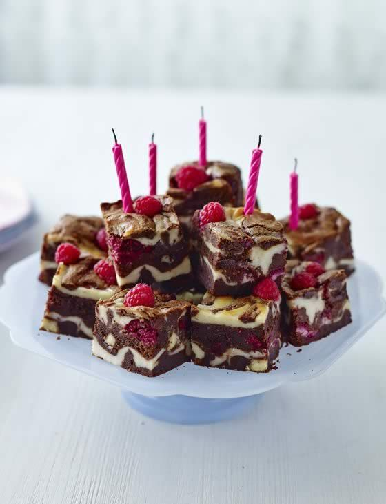 Raspberry and white chocolate celebration brownies http://www.sainsburysmagazine.co.uk/recipes/baking/special-occasion-cakes/item/raspberry-white-chocolate-celebration-brownies