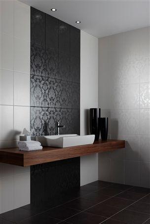Brocade Black Ceramic Wall Tile for the powder room + wooden sink holder