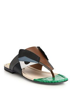 efd47c219e6 Fendi - Bugs Paneled Leather Thong Sandals Shoes Sandals