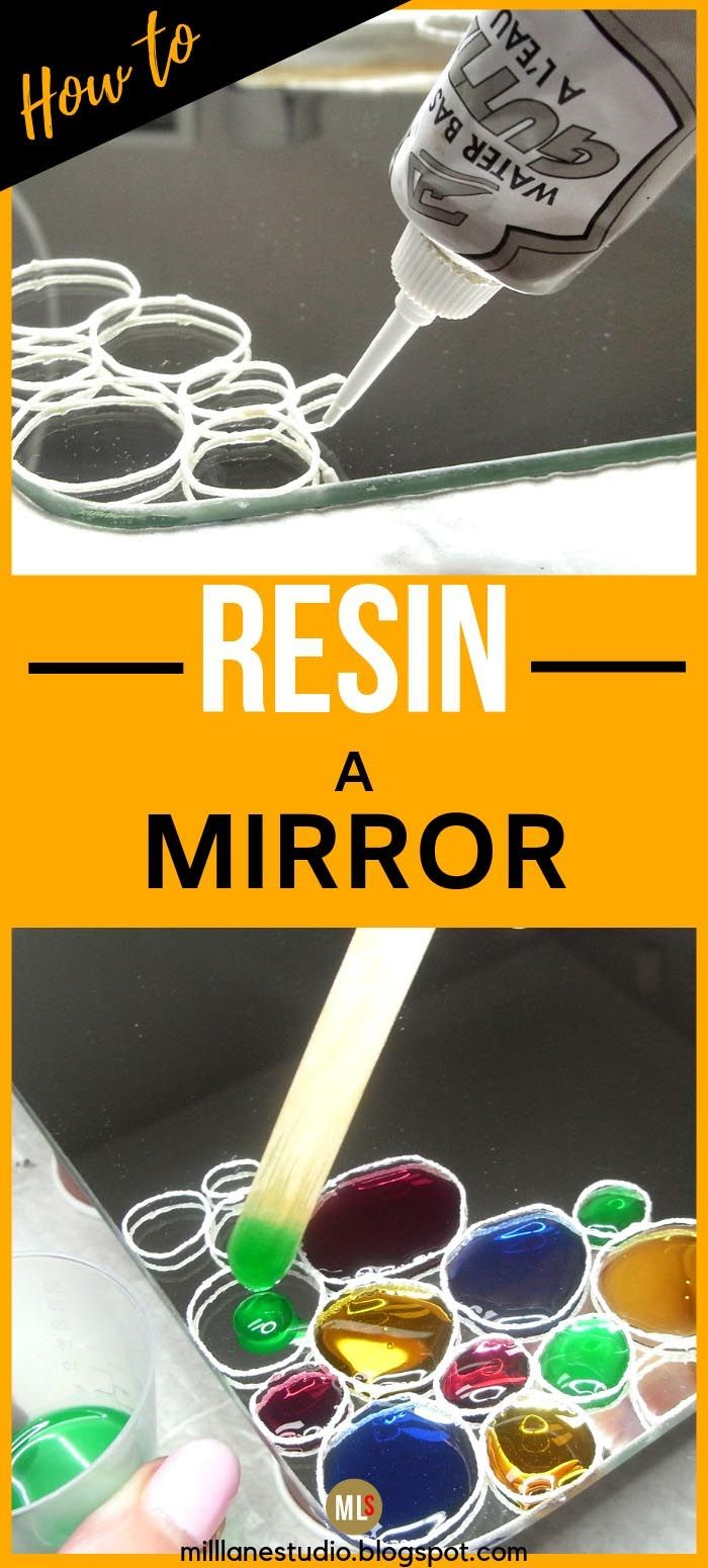 DIY Resin Jewelled Mirror is part of Diy resin projects, Resin diy, Diy resin crafts, Epoxy resin diy, Epoxy resin crafts, Resin crafts - Give an Ikea mirror a customised look by decorating it with jeweltoned resin bubbles  The mirror will reflect the transparent epoxy making it glow like jewels