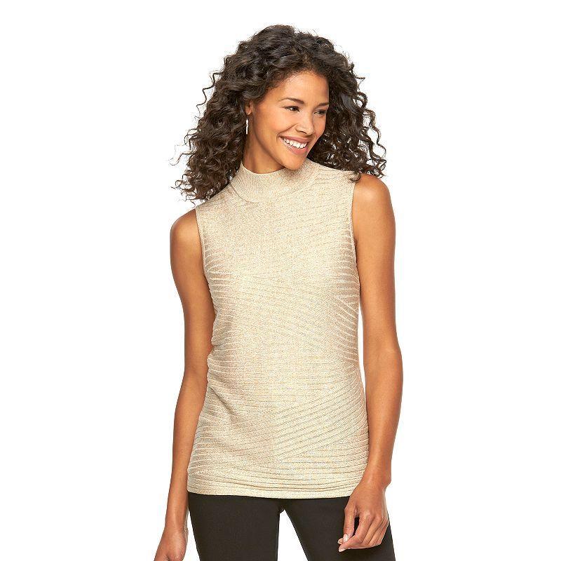 Women's Dana Buchman Ribbed Mockneck Sweater, Size: Large, Beig/Green (Beig/Khaki)