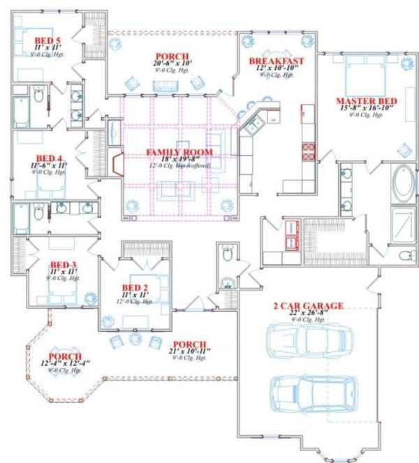 Victorian Style House Plan - 5 Beds 3 Baths 2491 Sq/Ft ...