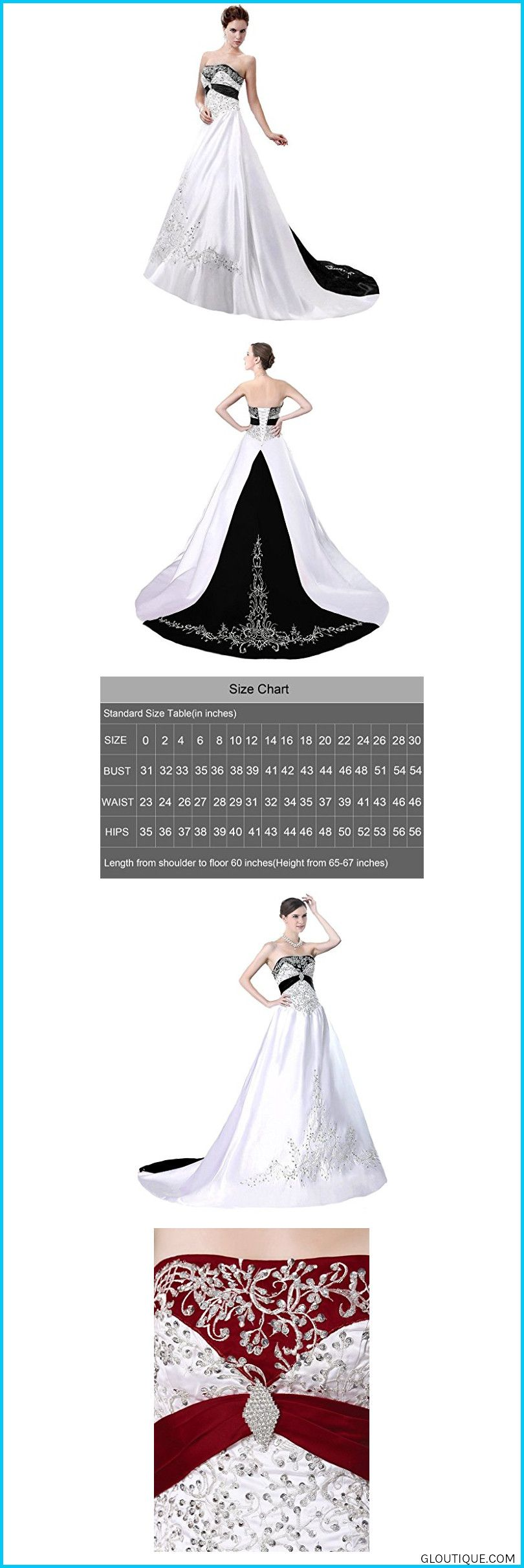 eab5991b58f ... occassion dresses often run smaller than your daily dresses Strapless  Embroidery S fashionSnowskite Women s Strapless Satin Embroidery Wedding  Dress ...