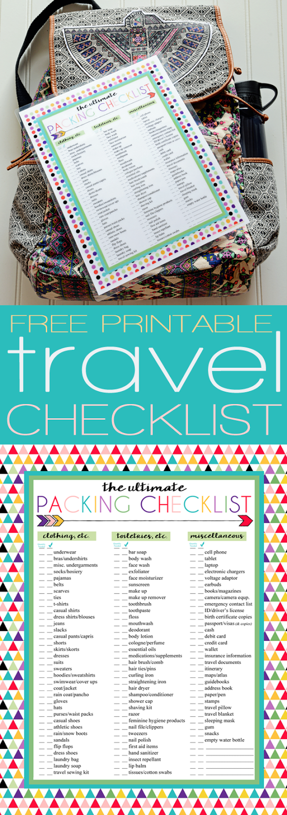 Free Printable Ultimate Travel Checklist | Printables | Pinterest ...