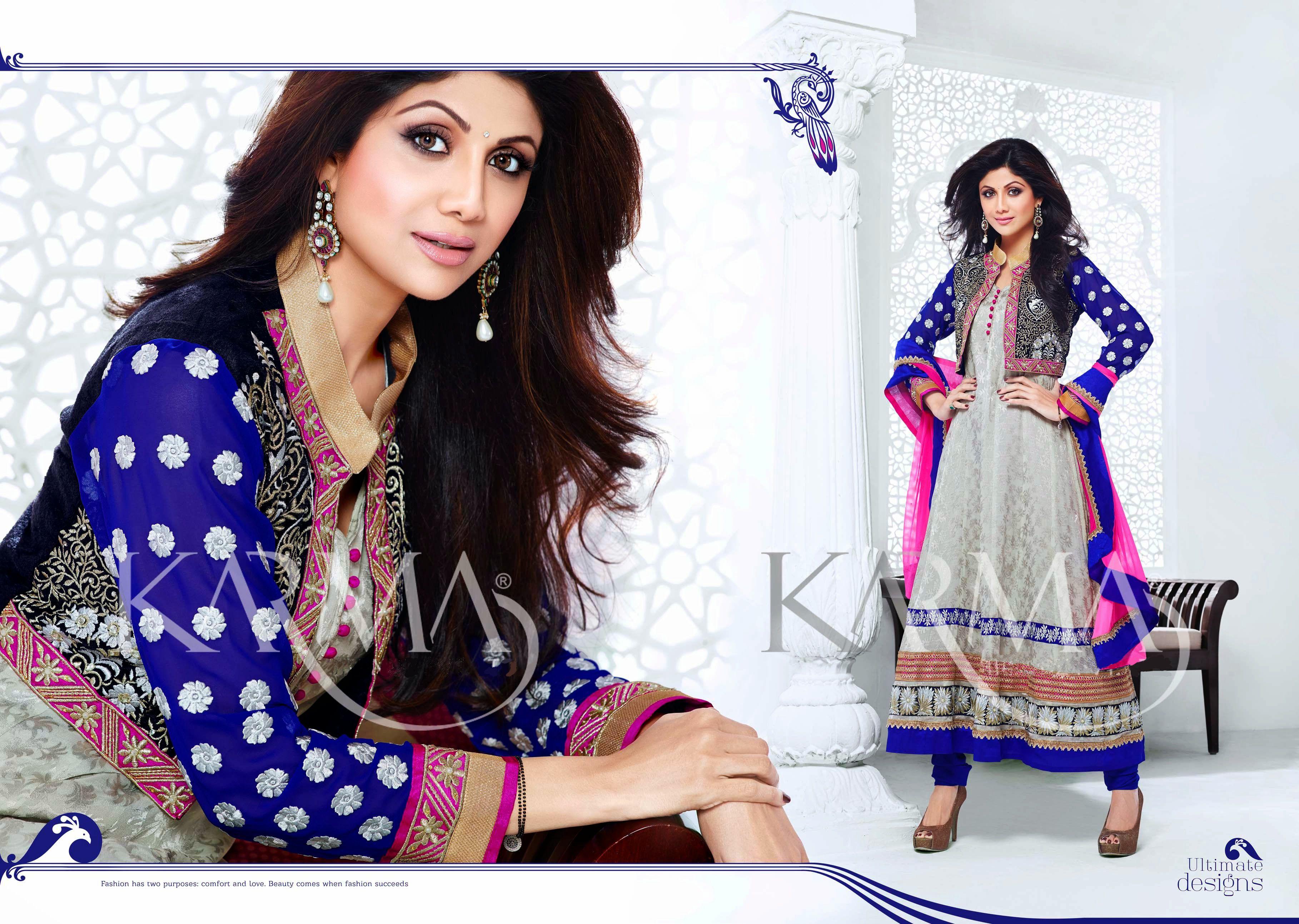 Koti style dress design royal blue