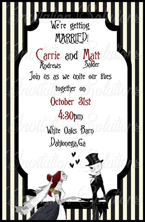jack and sally wedding invitation set nightmare before christmas