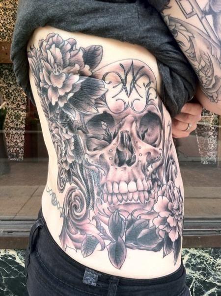 Megan Hoogland Skull And Flowers Ribs Tattoo Rib Tattoo Rib