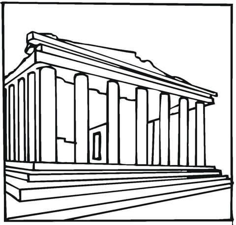 Parthenon Greece Coloring Page Greece Drawing