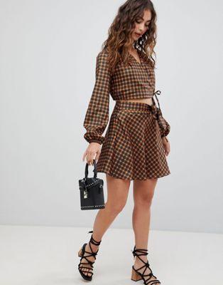 Glamorous wrap mini skirt in check two-piece