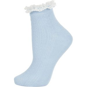 TOPSHOP Blue Lace Trim Ankle Socks