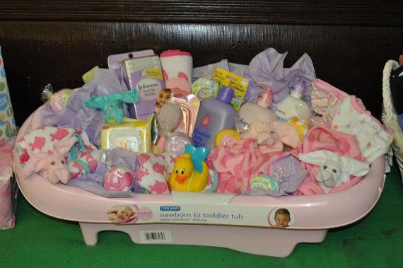 Pin By Lisa Beasley On Gift Baskets Baby Shower Baskets Baby Bath Tub Gift Basket Baby Bath Gift