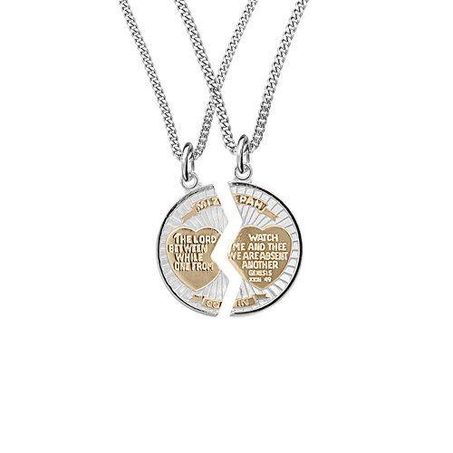 Sterling silver two tone round mizpah pendant necklace 20 and 24 sterling silver two tone round mizpah pendant necklace 20 and 24 amazon aloadofball Choice Image