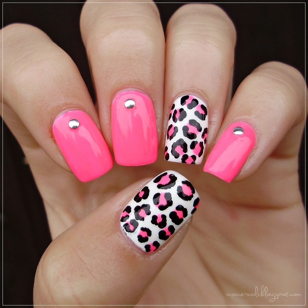 Matching Manicures Neon Pink Leopard Nails Pink Shellac Nails Pink Cheetah Nails