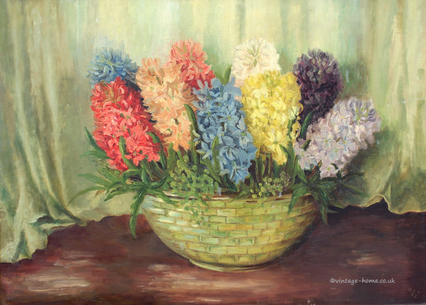 Vintage Home Shop Pretty 1950s Oil Painting Of A Bowl Of Hyacinths