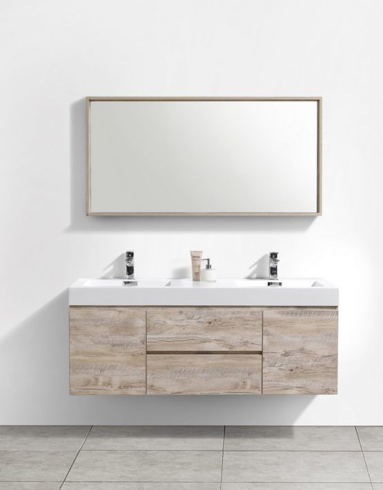 Modern Lux 60 Double Sink Nature Wood Wall Mount Modern Bathroom Vanity Bathroom Vanity Designs Bathroom Vanity Double Vanity Bathroom