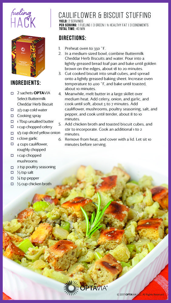 Cauliflower And Biscuit Stuffing Lean And Green Meals Greens Recipe Lean Meals
