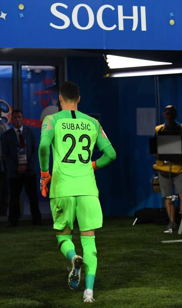 Danijel Subasic of Croatia runs off the pitch prior to the start of the penalty shoot out during the 2018 FIFA World Cup Russia Quarter Final match...