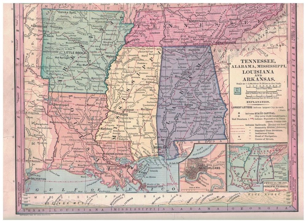 1885 Map of Tennessee Alabama Mississippi Louisiana and ...