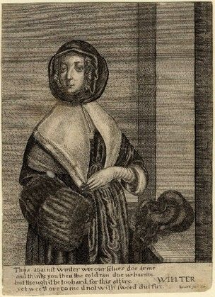 Winter by Peregrine Lowell after Hollar in reverse.  1647  Etching