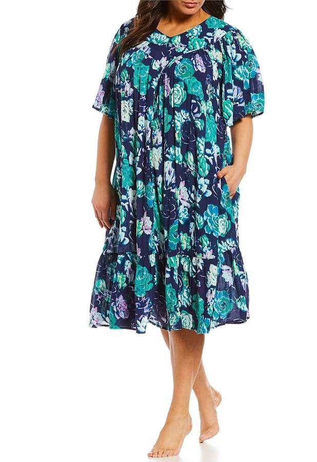 Patio Plus Floral Print Crinkled Patio Dress Crinkled